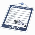 Opening Times Showcard and Dry Wipe Pen 200mm x 300mm