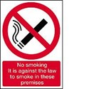 Vinyl Sign, Self Adhesive BACK - No Smoking It Is Against The Law