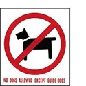 Vinyl Sign, Self Adhesive FRONT - No Dogs Except Guide Dogs