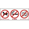 Vinyl Sign, Self Adhesive FRONT - No Dogs / Smoking / Food - 250mm x 100mm
