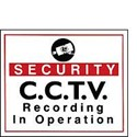 Vinyl Sign, Self Adhesive BACK - Security CCTV etc. - 190mm x 165mm